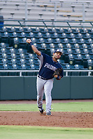 AZL Padres 2 third baseman Luis Roman (28) makes a throw to first base against the AZL Giants on July 13, 2017 at Scottsdale Stadium in Scottsdale, Arizona. AZL Giants defeated the AZL Padres 2 11-3. (Zachary Lucy/Four Seam Images)