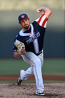 Starting pitcher Blake Taylor (28) of the Columbia Fireflies delivers a pitch in a game against the Rome Braves on Monday, July 3, 2017, at Spirit Communications Park in Columbia, South Carolina. Columbia won, 1-0. (Tom Priddy/Four Seam Images)