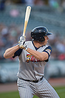 Mike Hessman (27) of the Toledo Mud Hens at bat against the Charlotte Knights at BB&T BallPark on April 27, 2015 in Charlotte, North Carolina.  The Knights defeated the Mud Hens 7-6 in 10 innings.   (Brian Westerholt/Four Seam Images)