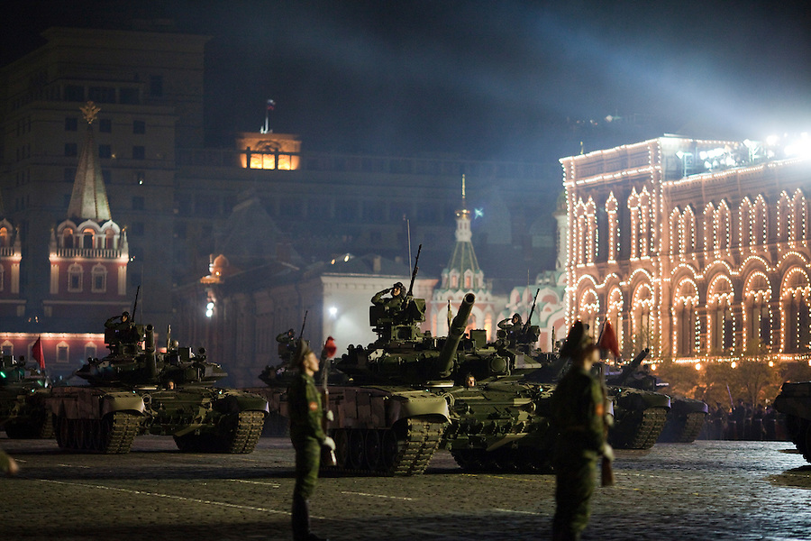 Moscow, Russia, 04/05/2010..Russian tanks at a night time rehearsal in Red Square for the forthcoming May 9 Victory Day parade, scheduled to be the largest for many years.