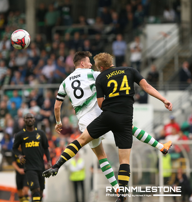 Ronan Finn of Shamrock Rovers in action against Robin Jansson of AIK during the UEFA Europa League First Qualifying Round First Leg between Shamrock Rovers and AIK on Thursday 12th July 2018 at Tallaght Stadium, Dublin. Photo By Michael P Ryan