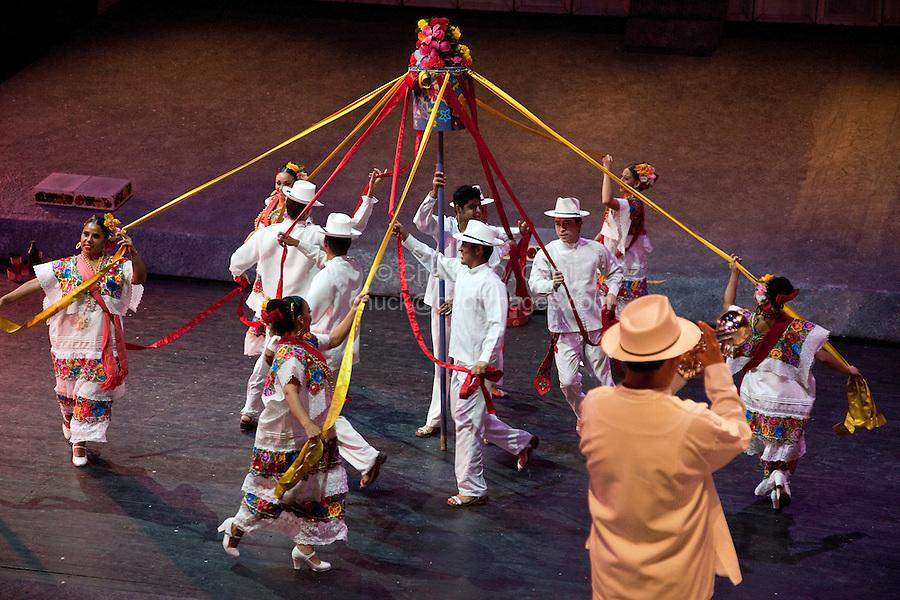 "Dancers Perform ""the Ribbon Dance"", Performance of ""Mexico Espectacular"", Xcaret, Playa del Carmen, Riviera Maya, Yucatan, Mexico."
