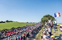 Peloton during the first passage up the Mûr de Bretagne. <br /> <br /> Stage 6: Brest > Mûr de Bretagne / Guerlédan (181km)<br /> <br /> 105th Tour de France 2018<br /> ©kramon