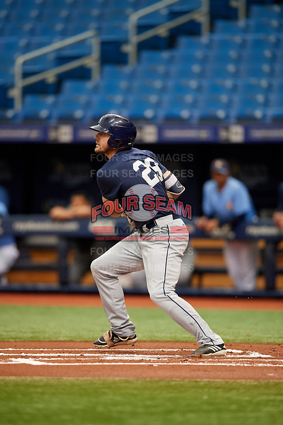 Ryan Boldt (29) follows through on a swing during the Tampa Bay Rays Instructional League Intrasquad World Series game on October 3, 2018 at the Tropicana Field in St. Petersburg, Florida.  (Mike Janes/Four Seam Images)