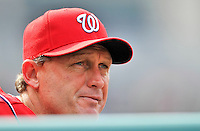 24 September 2011: Washington Nationals minor league manager Randy Knorr watches game action against the Atlanta Braves at Nationals Park in Washington, DC. The Nationals defeated the Braves 4-1 to even up their 3-game series. Mandatory Credit: Ed Wolfstein Photo