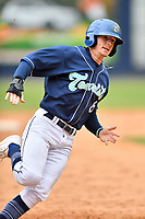 Asheville Tourists center fielder Will Golsan (8) rounds third base during game one of a double header against the West Virginia Power at McCormick Field on April 20, 2019 in Asheville, North Carolina. The Tourists defeated the Power 12-7. (Tony Farlow/Four Seam Images)