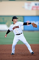 Jupiter Hammerheads shortstop Bryson Brigman (1) throws to first base during a game against the Palm Beach Cardinals on August 4, 2018 at Roger Dean Chevrolet Stadium in Jupiter, Florida.  Palm Beach defeated Jupiter 7-6.  (Mike Janes/Four Seam Images)
