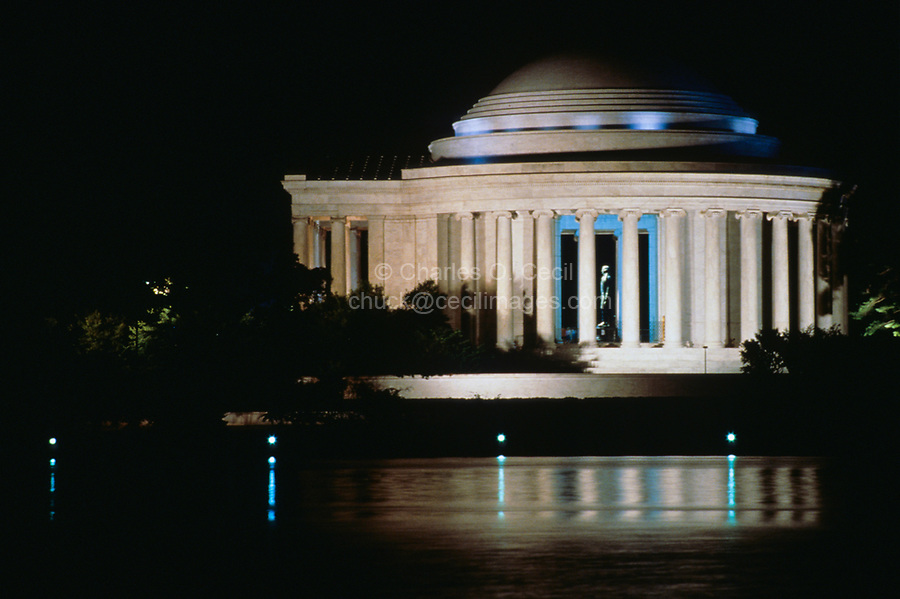 Washington, D.C.  Jefferson Memorial at Night.