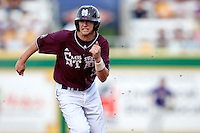 Mississippi State third baseman Phillip Casey #3 sprints to third base against the LSU Tigers during the NCAA baseball game on March 17, 2012 at Alex Box Stadium in Baton Rouge, Louisiana. The 10th-ranked LSU Tigers beat #21 Mississippi State, 4-3. (Andrew Woolley / Four Seam Images).