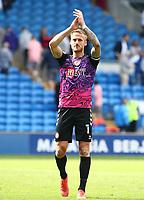 28th August 2021; Cardiff City Stadium, Cardiff, Wales;  EFL Championship football, Cardiff versus Bristol City; Daniel Bentley of Bristol City applauds the travelling supporters