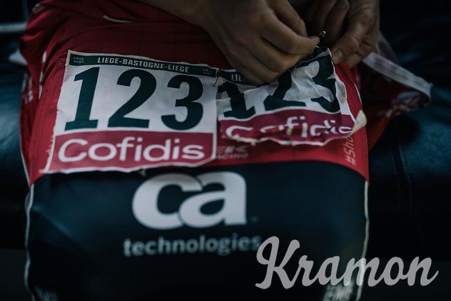 Gregory Daniel (USA/Trek-Segafredo) pinning on his race numbers<br /> <br /> 104th Liège - Bastogne - Liège 2018 (1.UWT)<br /> 1 Day Race: Liège - Ans (258km)