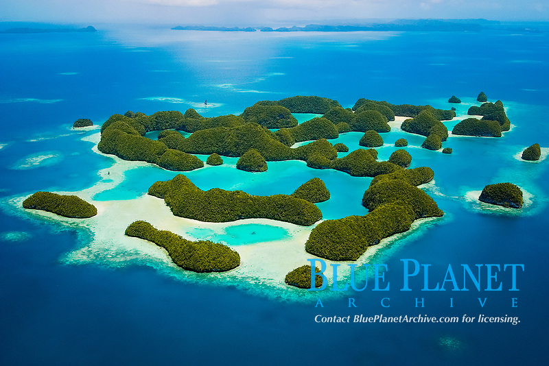 Aerial view of 70 Islands Nature Reserve, Rock Islands, Palau, Micronesia, Pacific Ocean