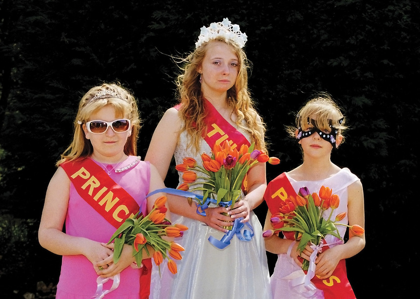 """Queen of Moulton Chapel Tuliptime, Amber Bell attended by Princess Matilda Sexton & Princess Sadie Groom. <br /> <br /> """"Events will include a static display of a missile launch."""""""