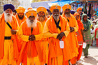 Asia,India,Punjab, Anandpur Sahib, sikh pilgrims with their turbans to the Holla Mohalla annual festival