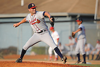 Danville Braves Matthew Suschak at Howard Johnson Field in Johnson City, Tennessee July 6, 2010.   Johnson City won the game 6-5.  Photo By Tony Farlow/Four Seam Images