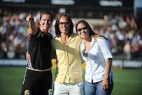 WC 99 players, Brandi Chastain, Tisha Venturini-Hoch, and Lorrie Fair during a half time presentation to celebrate the 1999 Women's World Cup victory, St. Louis Athletica over FC Gold Pride 1-0 at Buck Shaw Stadium, in Santa Clara, California, Sunday, July 5, 2009.