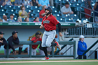 Will Craig (25) of the Indianapolis Indians hustles towards home plate against the Charlotte Knights at BB&T BallPark on April 27, 2019 in Charlotte, North Carolina. The Indians defeated the Knights 8-4. (Brian Westerholt/Four Seam Images)