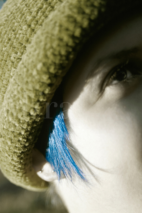 Alternative lifestyle / woman with blue hair