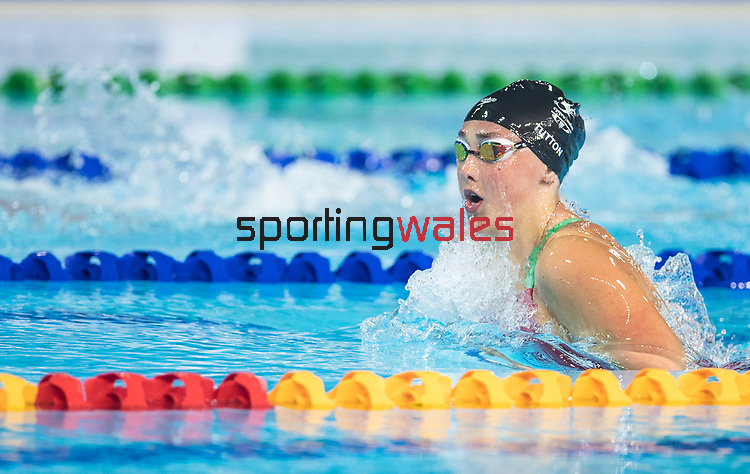 Wales Chloe Tutton in action during the Womans 200m Breaststroke final<br /> <br /> *This image must be credited to Ian Cook Sportingwales and can only be used in conjunction with this event only*<br /> <br /> 21st Commonwealth Games - Swimming - Day 3 - 07\04\2018 - Gold Coast Optus Aquatic centre - Gold Coast City - Australia