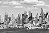 Part of the mid-town skyline, including new development on West 57th street, in New York City.