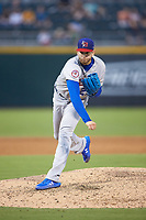 Buffalo Bisons starting pitcher T.J. Zeuch (27) follows through on his delivery against the Charlotte Knights at BB&T BallPark on July 24, 2019 in Charlotte, North Carolina. The Bisons defeated the Knights 8-4. (Brian Westerholt/Four Seam Images)