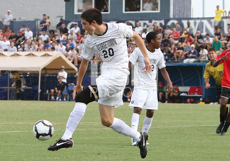 Andy Riemer #20 of Georgetown University during an NCAA match against Northeastern University at North Kehoe Field, Georgetown University on September 3 2010 in Washington D.C. Georgetown won 2-1 AET.