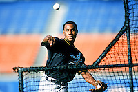Ricky Gutierrez of the Houston Astros throws batting practice before a 1999 Major League Baseball season game against the Los Angeles Dodgers in Los Angeles, California. (Larry Goren/Four Seam Images)