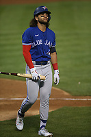 OAKLAND, CA - MAY 3:  Bo Bichette #11 of the Toronto Blue Jays reacts after striking out against the Oakland Athletics during the game at the Oakland Coliseum on Monday, May 3, 2021 in Oakland, California. (Photo by Brad Mangin)