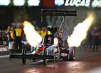 Jun 19, 2015; Bristol, TN, USA; NHRA top fuel driver Cory McClenathan during qualifying for the Thunder Valley Nationals at Bristol Dragway. Mandatory Credit: Mark J. Rebilas-