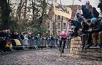 Sep Vanmarcke (BEL/Education First-Drapac) solo's up the infamous Kapelmuur cobbles as race leader<br /> <br /> Omloop Het Nieuwsblad 2018<br /> Gent › Meerbeke: 196km (BELGIUM)