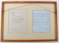 BNPS.co.uk (01202 558833)<br /> Pic: C&TAuctions/BNPS<br /> <br /> Pictured: A letter Lt Bain received from Field Marshal Bernard Montgomery.<br /> <br /> The medals and personal effects of an unsung hero of D-Day have emerged for sale for £6,000.<br /> <br /> Lieutenant Colonel Douglas Bain trialled the amphibious Duplex Drive tanks ahead of the Normandy landings in June 1944.<br /> <br /> He commanded three DD training schools preparing tanks for sea and river assaults, reporting personally to Field Marshal Bernard Montgomery.<br /> <br /> The dangerous trials, which tested the 'waterproofing' of the amphibious armoured vehicles, were carried out off the south coast of England.