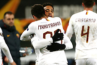 Justin Kluivert of AS Roma celebrates with Henrikh Mkhitaryan after scoring the goal of 1-1 <br /> Gand 27/02/2020 Ghelamco Arena <br /> Football Europa League 2019/2020 round of 32 2nd Leg KAA Gent - AS Roma <br /> Photo Gino Mancini / Insidefoto