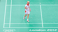 28 JUL 2012 - LONDON, GBR - Imogen Bankier (GBR) of Great Britain celebrates a point during the London 2012 Olympic Games mixed doubles group badminton match with partner Chris Adcock (GBR) against Alexandr Nikolaenko and Valeria Sorokina of Russia at Wembley Arena, London, Great Britain .(PHOTO (C) 2012 NIGEL FARROW)