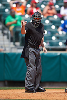 Umpire Tom Honec makes a call during a game between the Columbus Clippers and Buffalo Bisons on July 19, 2015 at Coca-Cola Field in Buffalo, New York.  Buffalo defeated Columbus 4-3 in twelve innings.  (Mike Janes/Four Seam Images)