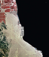 historical infrared aerial photograph of western shore of the Salton Sea, Riverside County, California, 1996