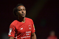 Joe Widdowson of Leyton Orient during the EFL Trophy behind closed doors match between Leyton Orient and Brighton & Hove Albion Under 21s at the Matchroom Stadium, London, England played without supporters able to attend due to ongoing covid-19 government guidelines on 8 September 2020. Photo by Vince  Mignott.