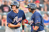 Reno Aces short stop Nick Ahmed (5) and third baseman Andy Marte (8) celebrate homer during pacific coast league baseball game, Friday August 15, 2014 in Round Rock, Tex. Reno defeats Round Rock 11-9 to sweep three game series. (Mo Khursheed/TFV Media via AP Images)