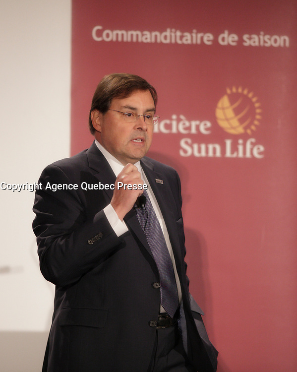 Montreal (Qc) CANADA - June 15, 2012 -  Dr. Guy Breton, Rector of the Universite de Montreal speak about the science campus project, at the Canadian Club of Montreal tribune<br /> <br /> <br /> PHOTO :  Agence Quebec Presse