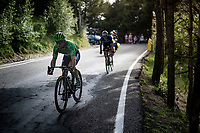 Green Jersey / points leader Mark Cavendish (GBR/Deceuninck - Quick Step) knows he'll be making teh time-cut today as he's escorted down the descent of the Col de Beixalis by his teammates.<br /> <br /> Stage 15 from Céret to Andorra la Vella (191km)<br /> 108th Tour de France 2021 (2.UWT)<br /> <br /> ©kramon