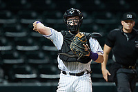 Winston-Salem Dash catcher Evan Skoug (9) makes a throw to first base against the Greensboro Grasshoppers at Truist Stadium on August 11, 2021 in Winston-Salem, North Carolina. (Brian Westerholt/Four Seam Images)