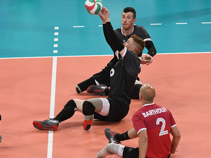 Mikael Bartholdy, Bryce Foster, and Doug Learoyd, Lima 2019 - Sitting Volleyball // Volleyball assis.<br /> Canada competes in men's Sitting Volleyball // Canada participe au volleyball assis masculin. 24/08/2019.