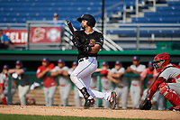 Batavia Muckdogs Igor Baez (6) hits a home run during a NY-Penn League game against the Auburn Doubledays on June 19, 2019 at Dwyer Stadium in Batavia, New York.  Batavia defeated Auburn 5-4 in eleven innings in the completion of a game originally started on June 15th that was postponed due to inclement weather.  (Mike Janes/Four Seam Images)