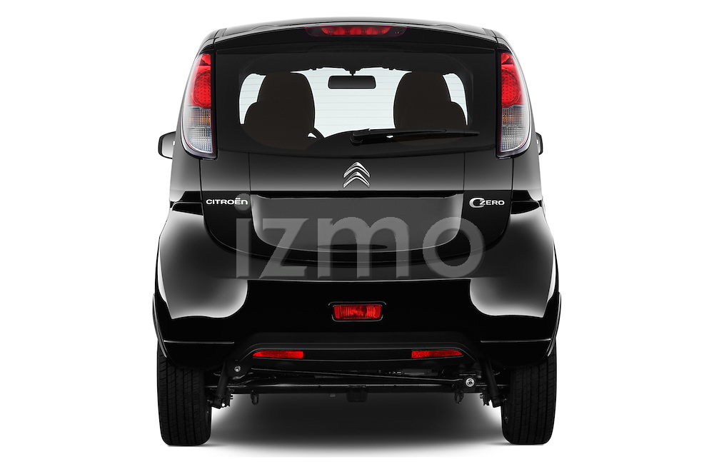 Straight rear view of 2016 Citroen C-Zero Confort 5 Door Micro Car Rear View  stock images
