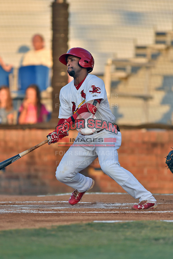 Johnson City Cardinals second baseman J.R. Davis (3) swings at a pitch during Game Two of the Appalachian League Championship series against the Burlington Royals at TVA Credit Union Ballpark on September 7, 2016 in Johnson City, Tennessee. The Cardinals defeated the Royals 11-6 to win the series 2-0.. (Tony Farlow/Four Seam Images)