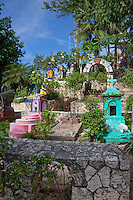 Mexican Cemetery, comprised of replicas of genuine graves from around Mexico.  Xcaret, Playa del Carmen, Riviera Maya, Yucatan, Mexico.