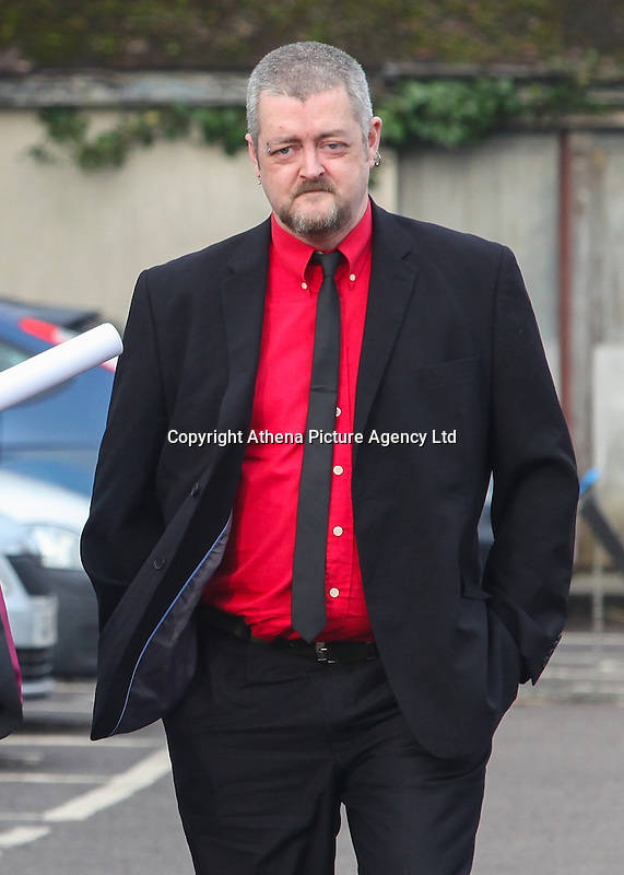 COPY BY TOM BEDFORD<br /> Pictured: John Talbot the father of Ashley arrives at Aberdare Coroner's Court, Wales, UK. Monday 13 February 2017<br /> Re: Inquest into the death of teenager Ashley Daniel Talbot held at Aberdare Coroner's Court.<br /> Ashley, 15, died at the scene and another boy, 13, suffered minor injuries in December 2014, following a crash involving a school minibus en route to a rugby match,at Maesteg Comprehensive School in south Wales.