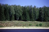 RUSSIA  Viaggio in battello da San Pietroburgo a Mosca lungo il Volga. Vista su una riva alberata.