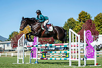 NZL-Maya Hegh rides Encore NZPH. Final-3rd. Class 25: Horse 1.10m Ranking Class. 2021 NZL-Easter Jumping Festival presented by McIntosh Global Equestrian and Equestrian Entries. NEC Taupo. Saturday 3 April. Copyright Photo: Libby Law Photography