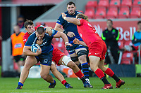9th September 2020; AJ Bell Stadium, Salford, Lancashire, England; English Premiership Rugby, Sale Sharks versus Sracens; Valery Morozov of Sale Sharks is tackled by Callim Hunter-Hill of Saracens