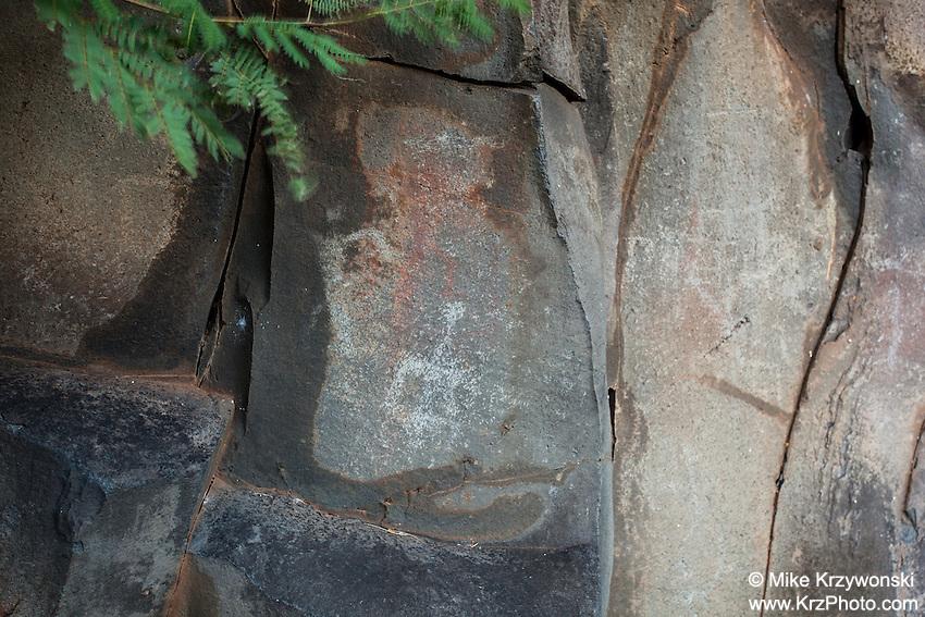 Hawaiian petroglyphs & pictographs near Nu'u Bay, Kaupo, Maui